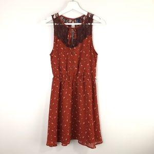I Love H8 1 Rust Sleeveless Dress Medium